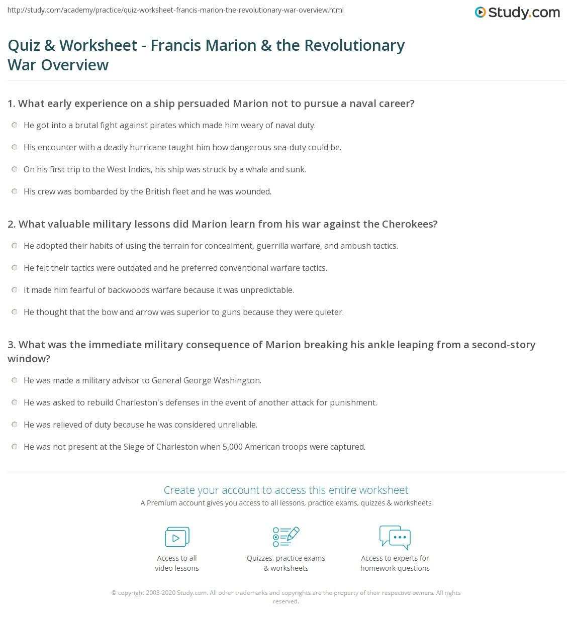 worksheet Revolutionary War Worksheets quiz worksheet francis marion the revolutionary war overview print facts biography worksheet