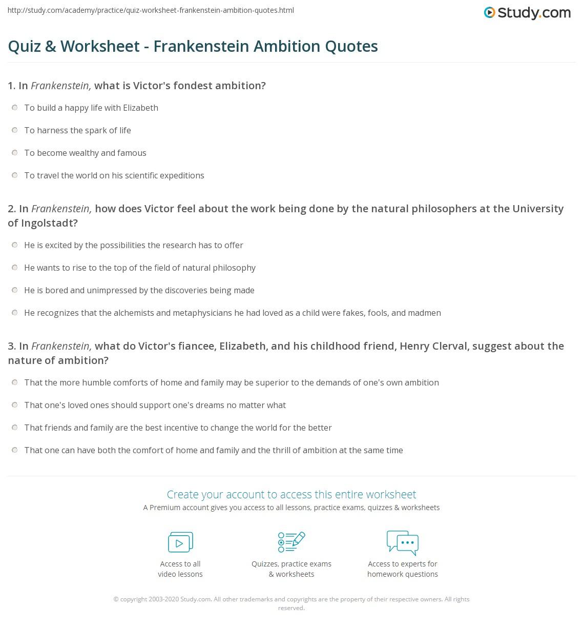 Quiz Worksheet Frankenstein Ambition Quotes Study Com