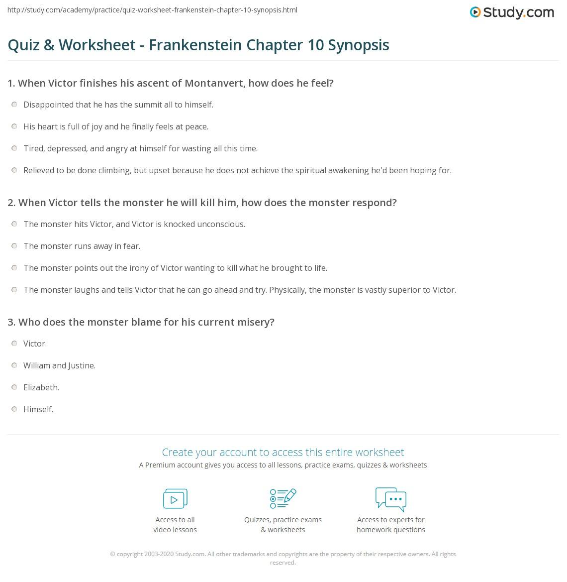 quiz worksheet frankenstein chapter 10 synopsis study com rh study com frankenstein study guide answers chapters 11-16 frankenstein study guide answers