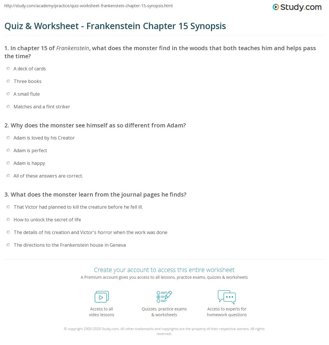 quiz worksheet frankenstein chapter 15 synopsis study com rh study com Frankenstein Reading Guide Questions Answers Frankenstein Study Guide for Questions