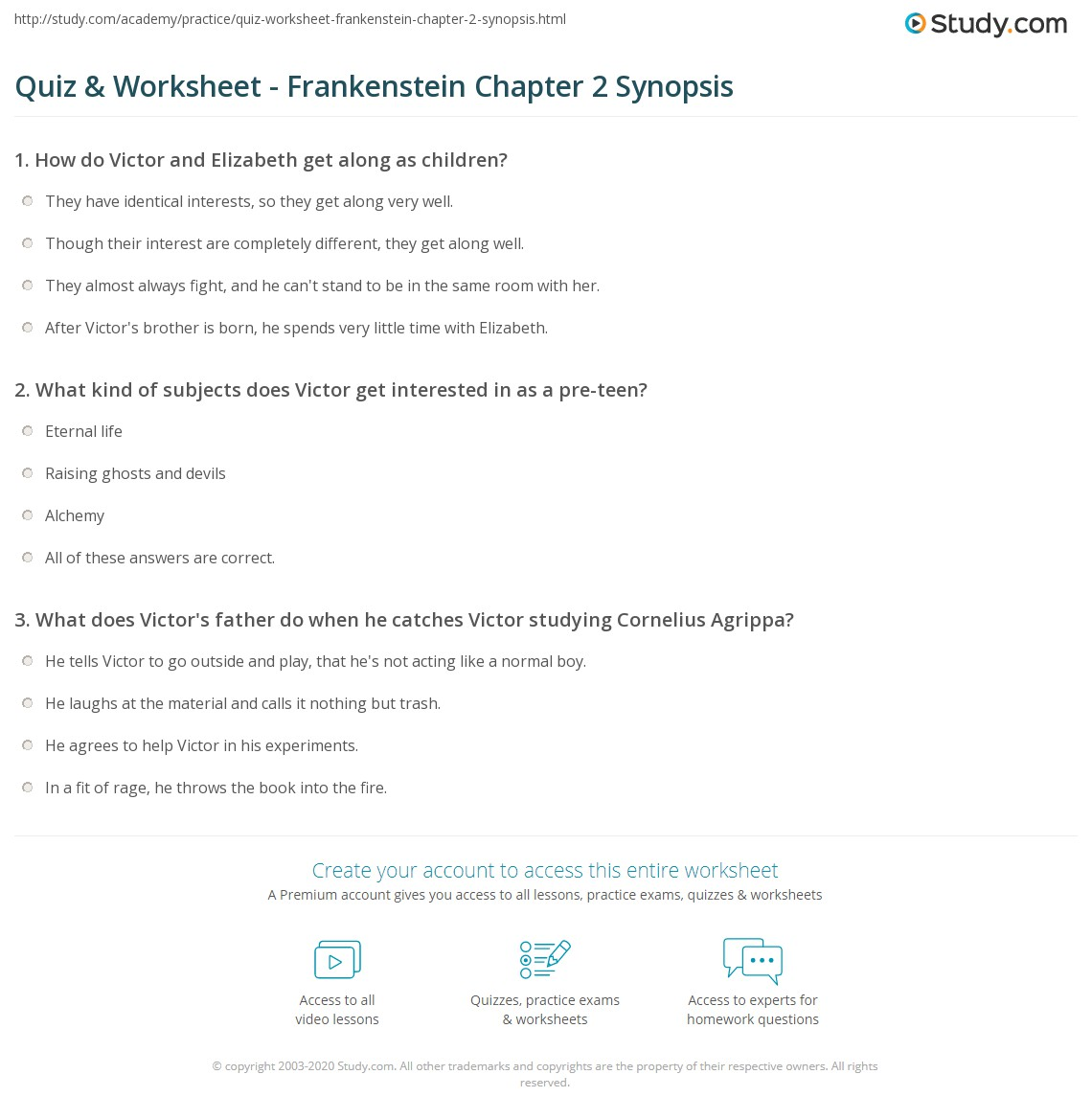 quiz worksheet frankenstein chapter 2 synopsis study com rh study com Frankenstein Study Guide Glencoe Answers Frankenstein Study Guide Glencoe Answers