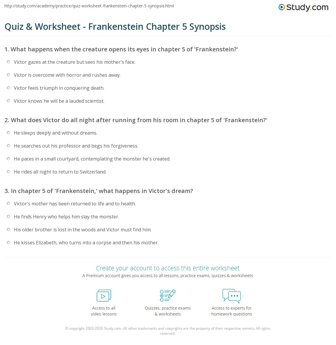 Print Frankenstein Chapter 5 Summary Worksheet