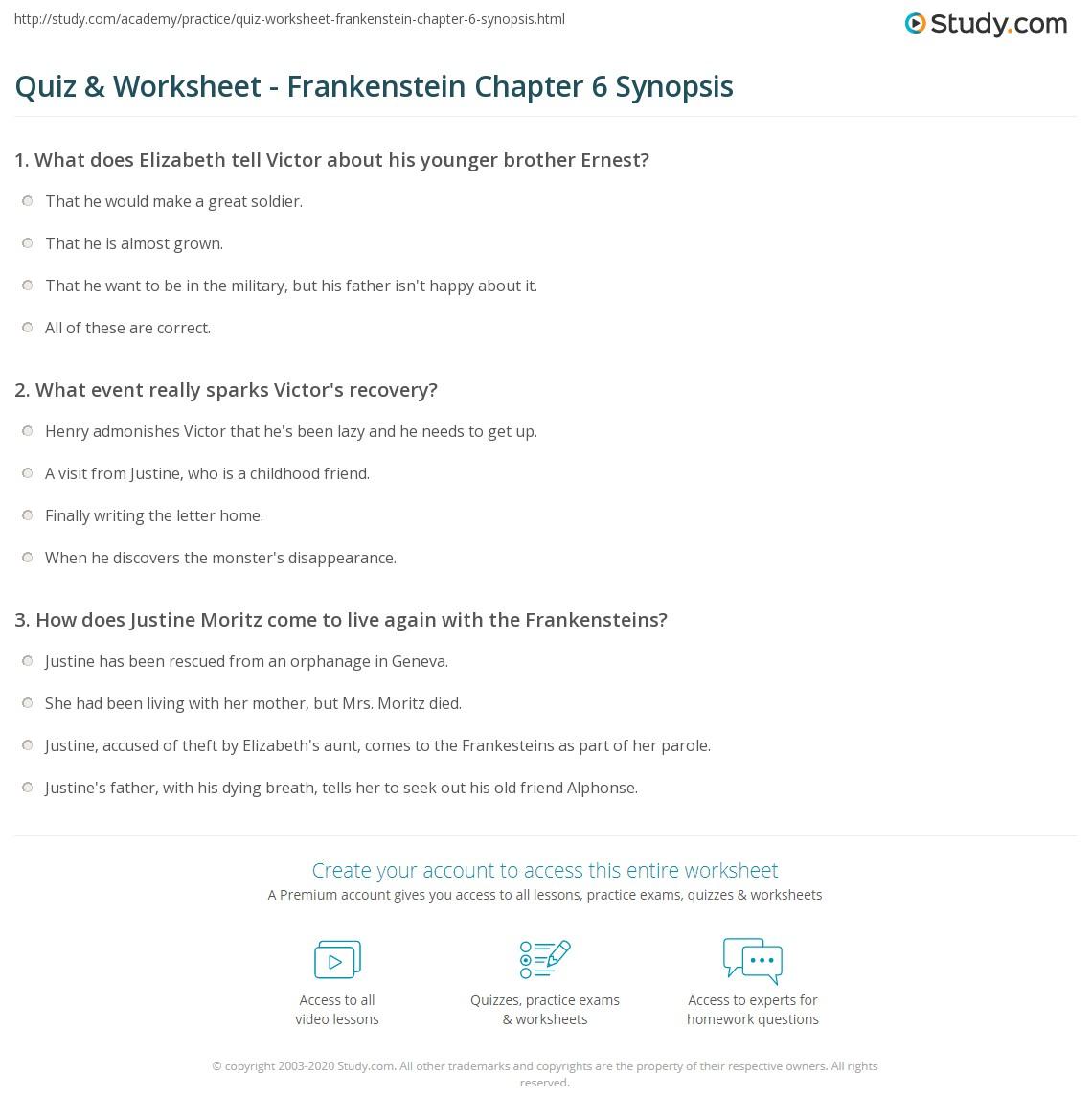 quiz worksheet frankenstein chapter 6 synopsis study com rh study com Frankenstein Reading Guide Questions Answers Frankenstein Summary