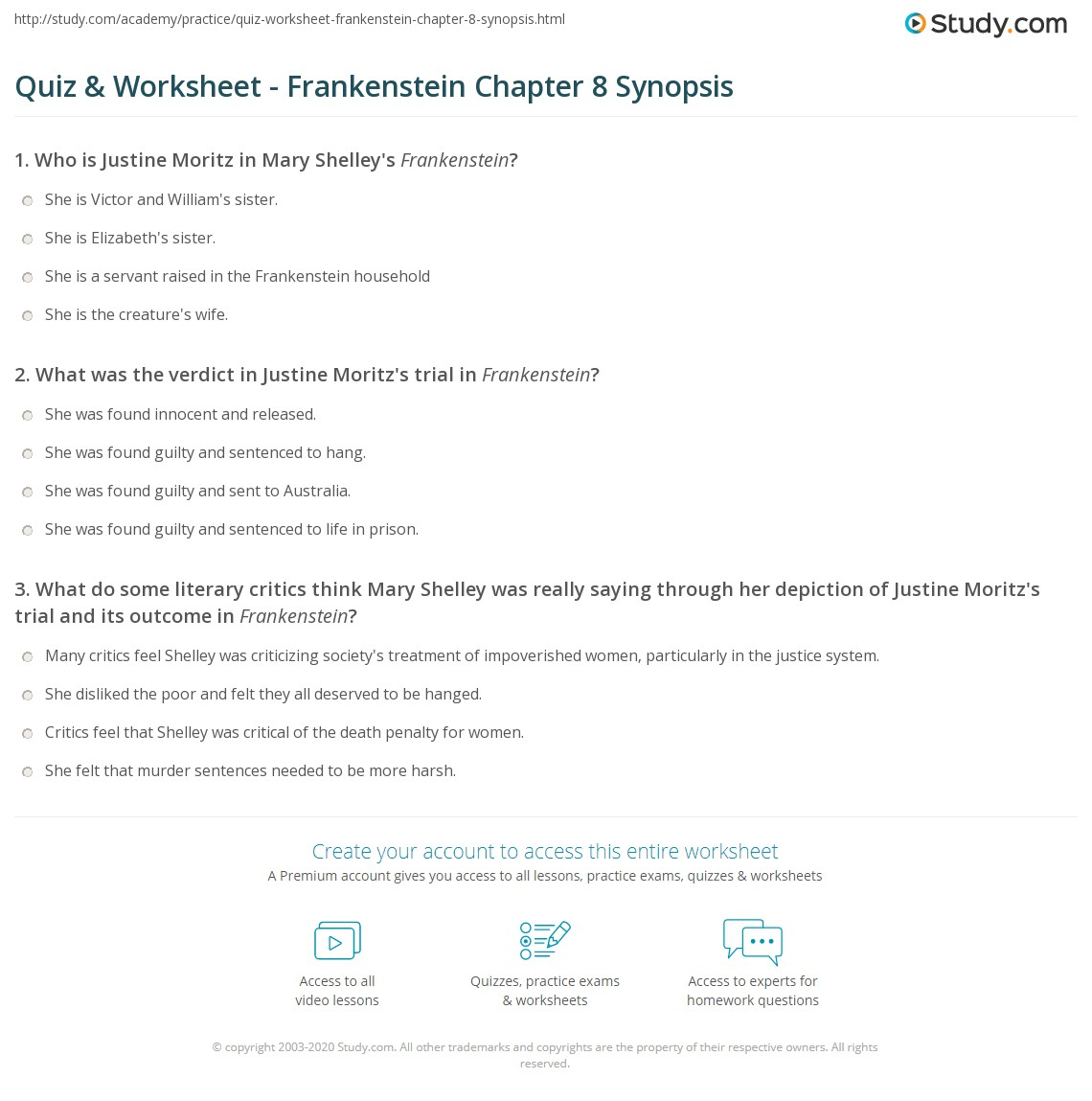 quiz worksheet frankenstein chapter synopsis com print frankenstein chapter 8 summary worksheet