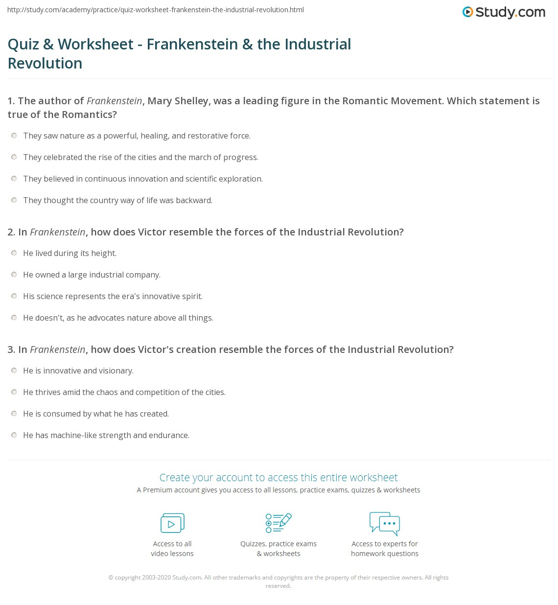 quiz worksheet frankenstein the industrial revolution study com rh study com frankenstein discussion questions and answers frankenstein study guide questions answer key