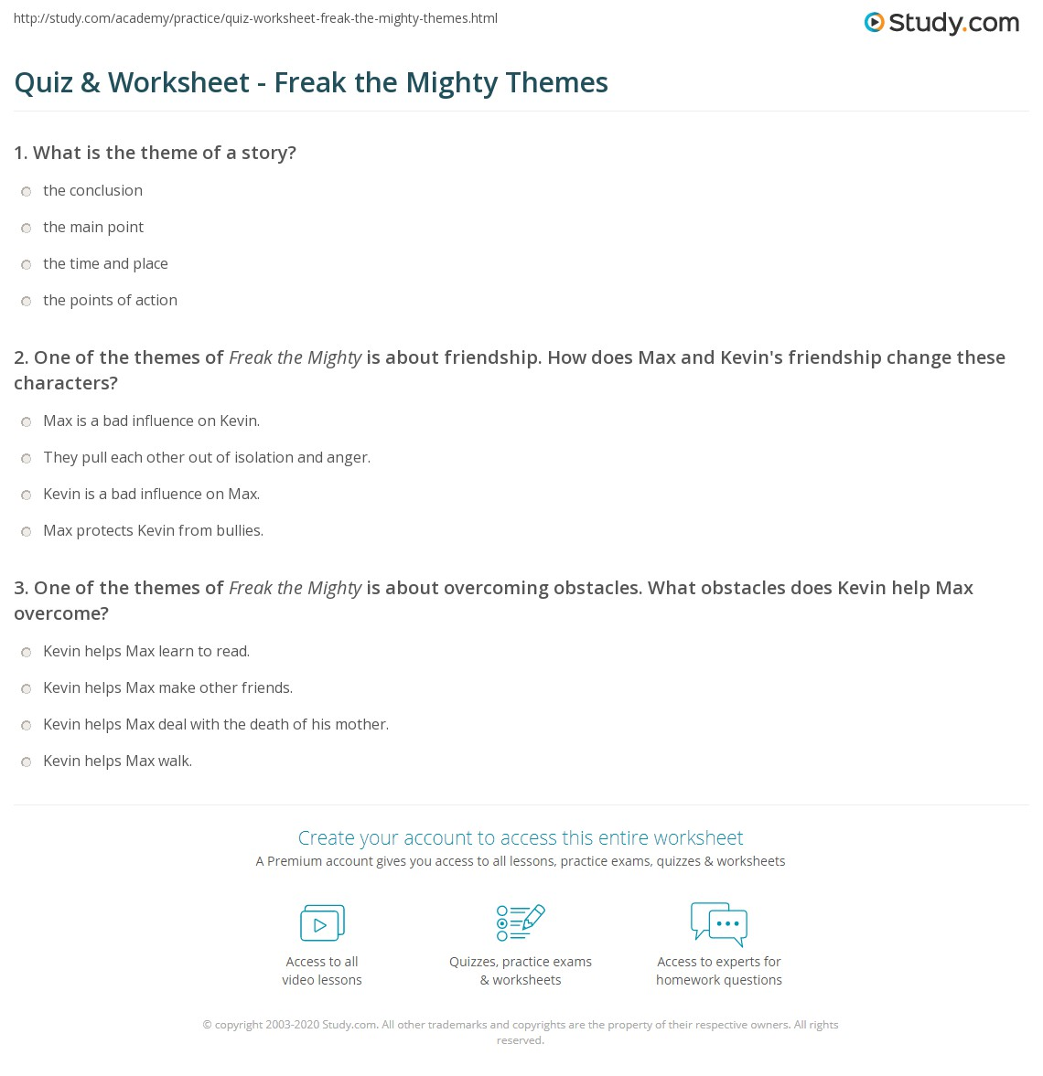 Worksheets Freak The Mighty Worksheets quiz worksheet freak the mighty themes study com print of worksheet