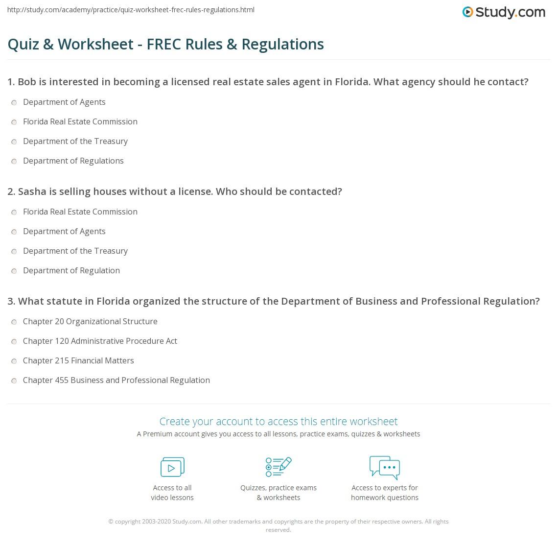 Quiz & Worksheet - FREC Rules & Regulations | Study com