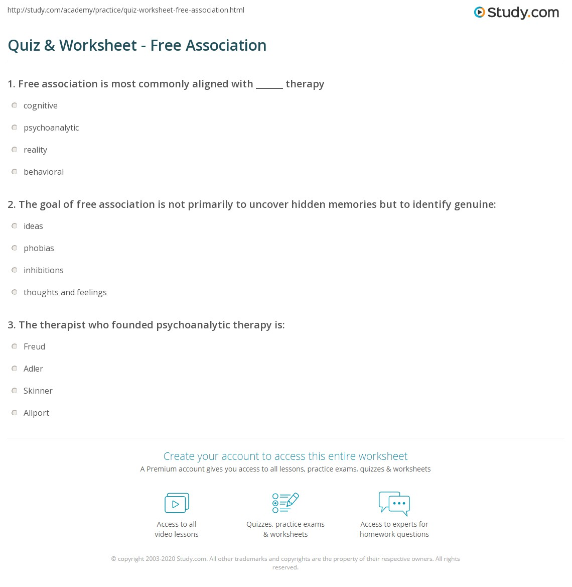 Quiz & Worksheet - Free Association | Study.com