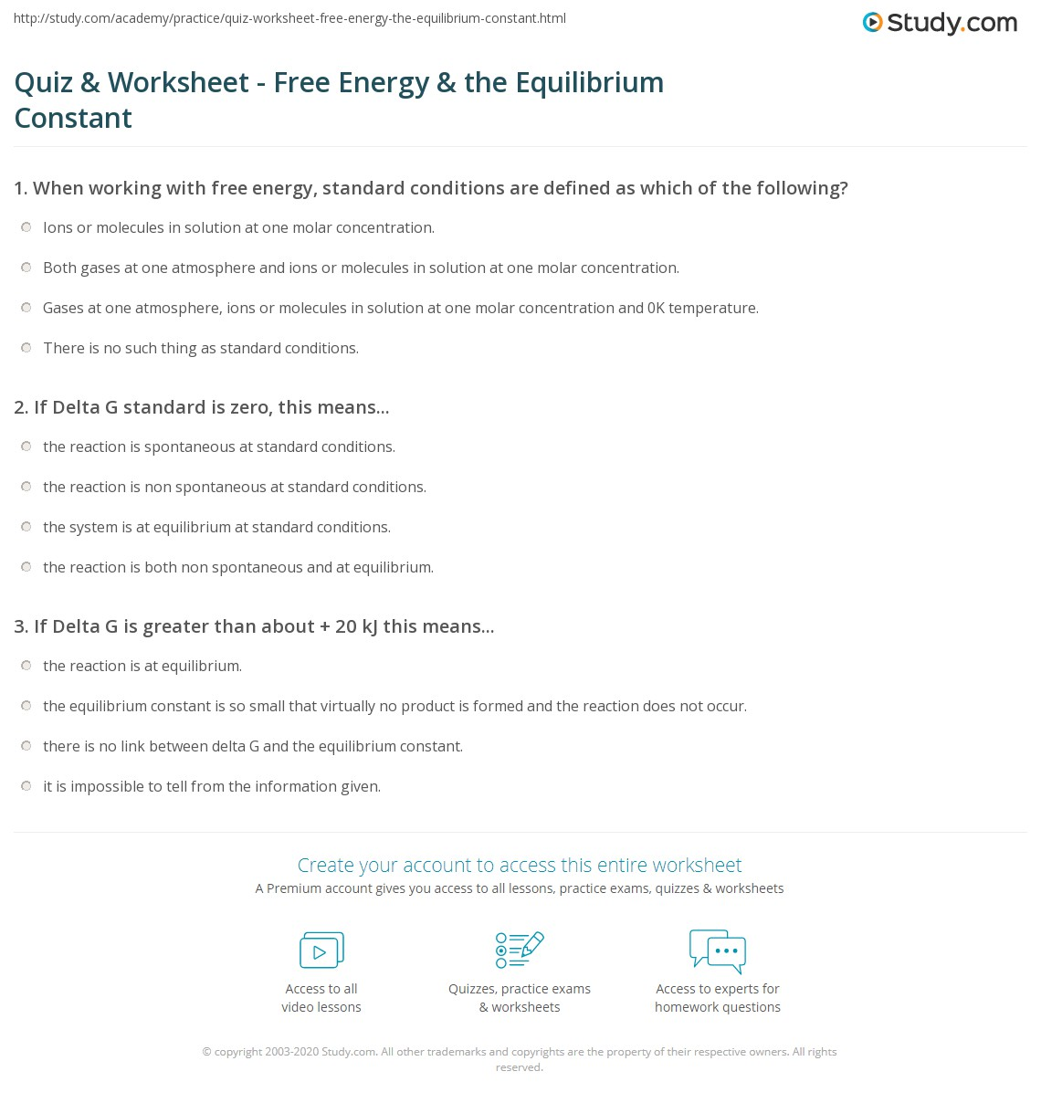 worksheet Solution Concentration Worksheet quiz worksheet free energy the equilibrium constant study com print relationship between and worksheet