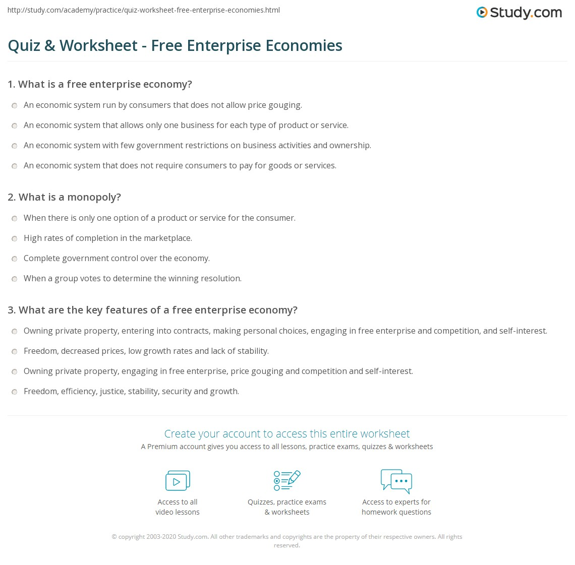 quiz & worksheet - free enterprise economies | study