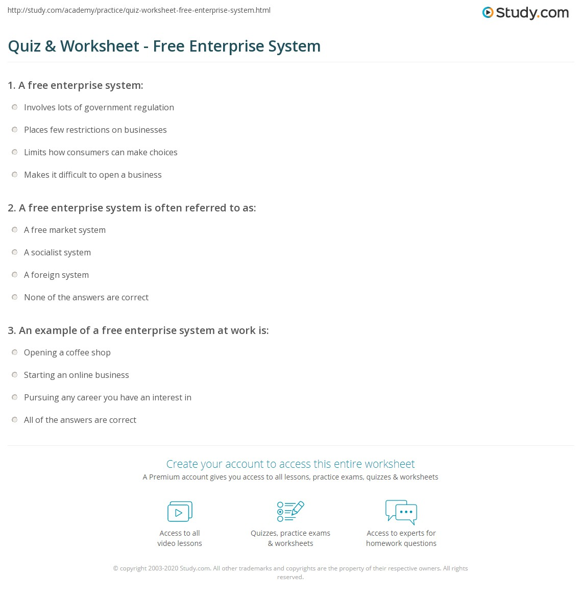 quiz & worksheet - free enterprise system | study