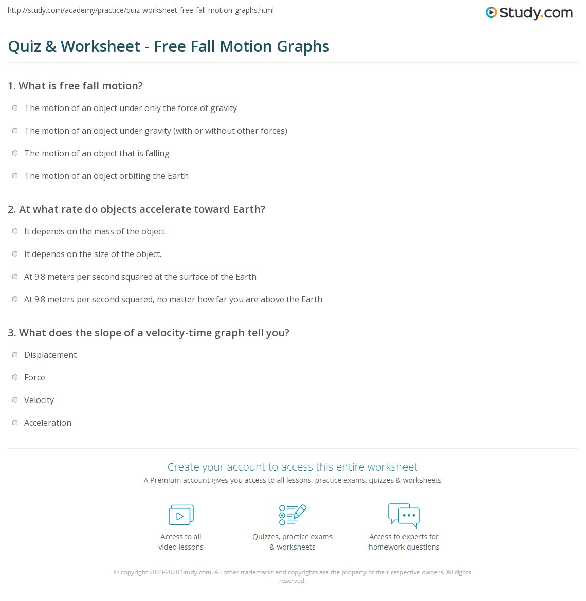 Quiz & Worksheet - Free Fall Motion Graphs | Study.com