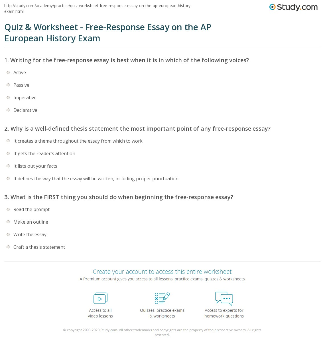 quiz  worksheet  freeresponse essay on the ap european history  why is a welldefined thesis statement the most important point of any freeresponse  essay