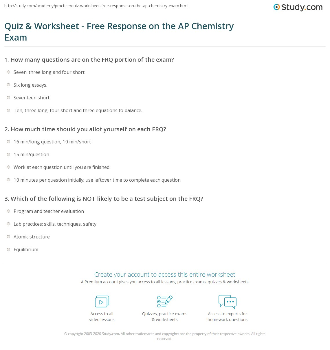 Worksheets Ap Chemistry Worksheets quiz worksheet free response on the ap chemistry exam study com print how to master section of worksheet