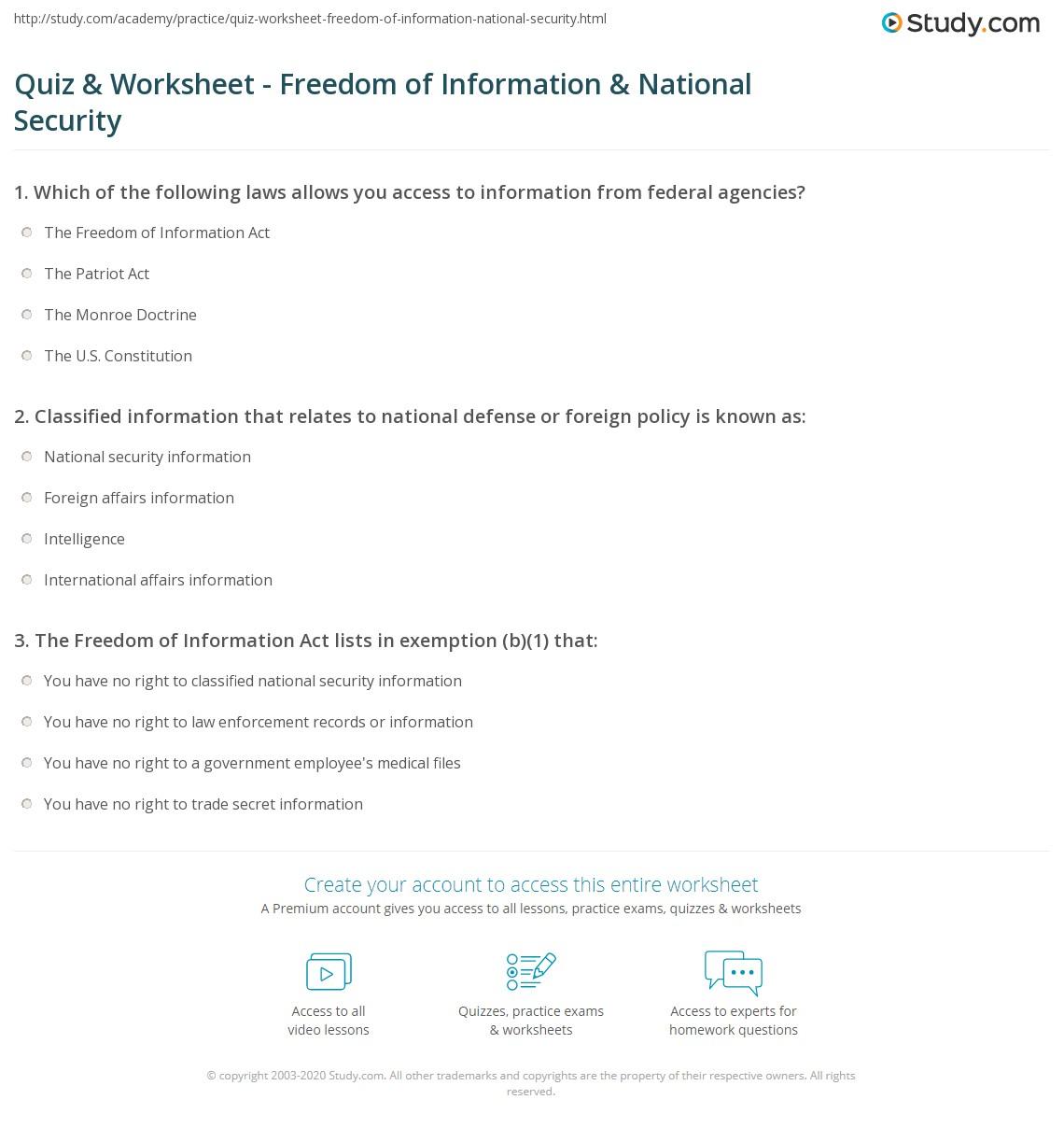 Quiz & Worksheet - Freedom of Information & National