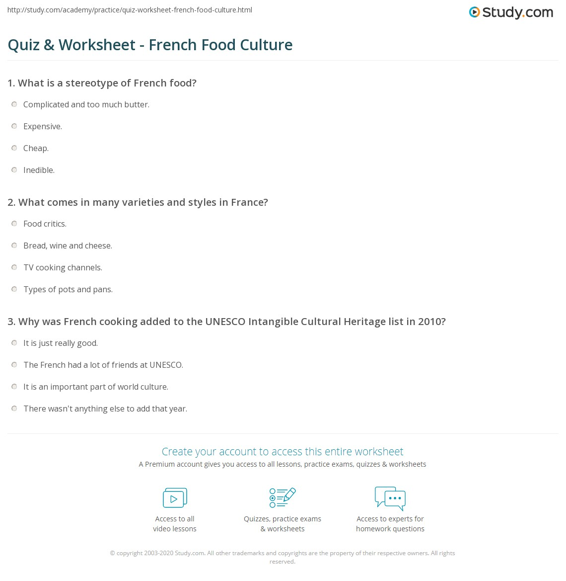 Quiz & Worksheet - French Food Culture | Study.com