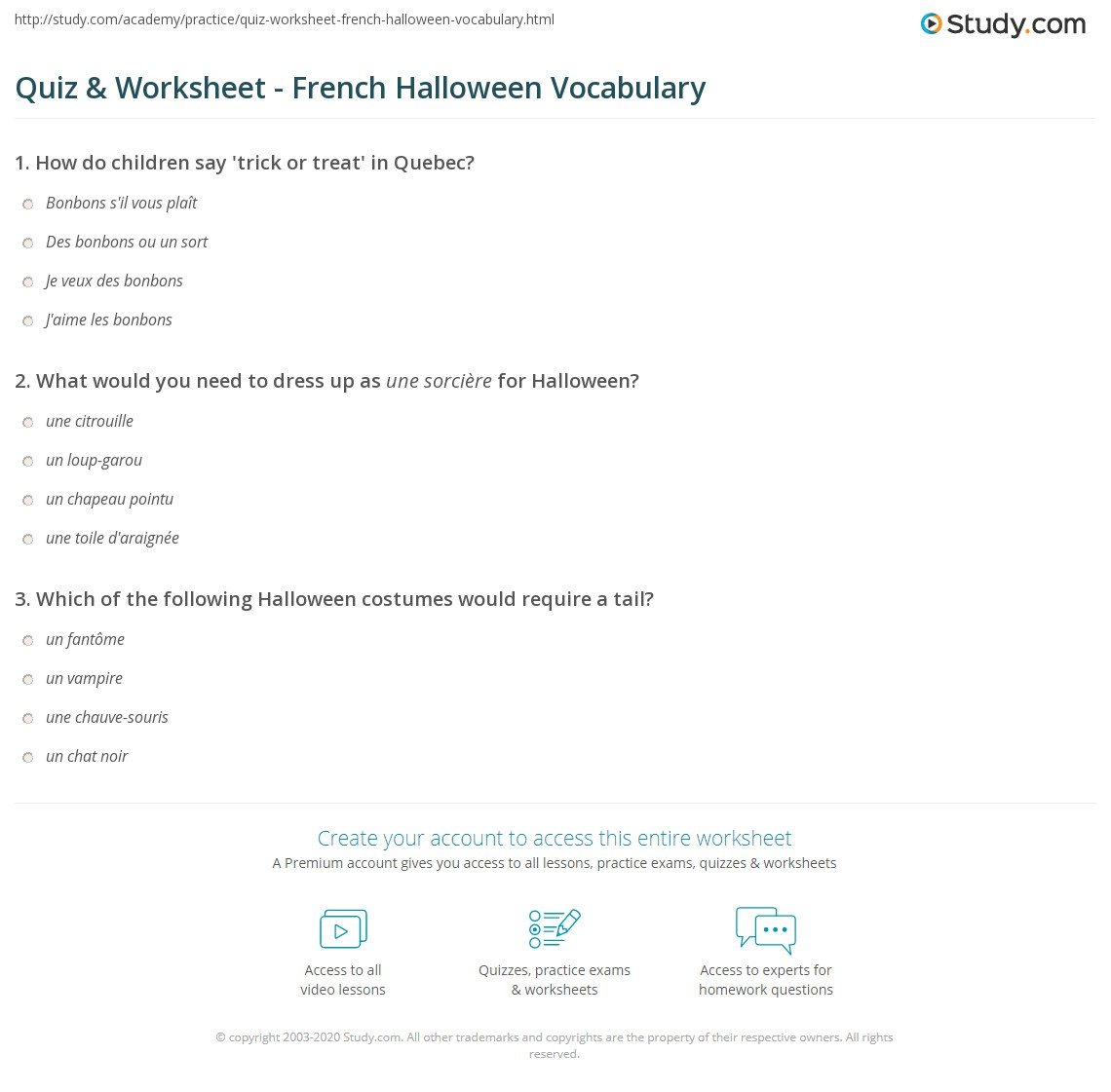 Quiz & Worksheet - French Halloween Vocabulary | Study.com