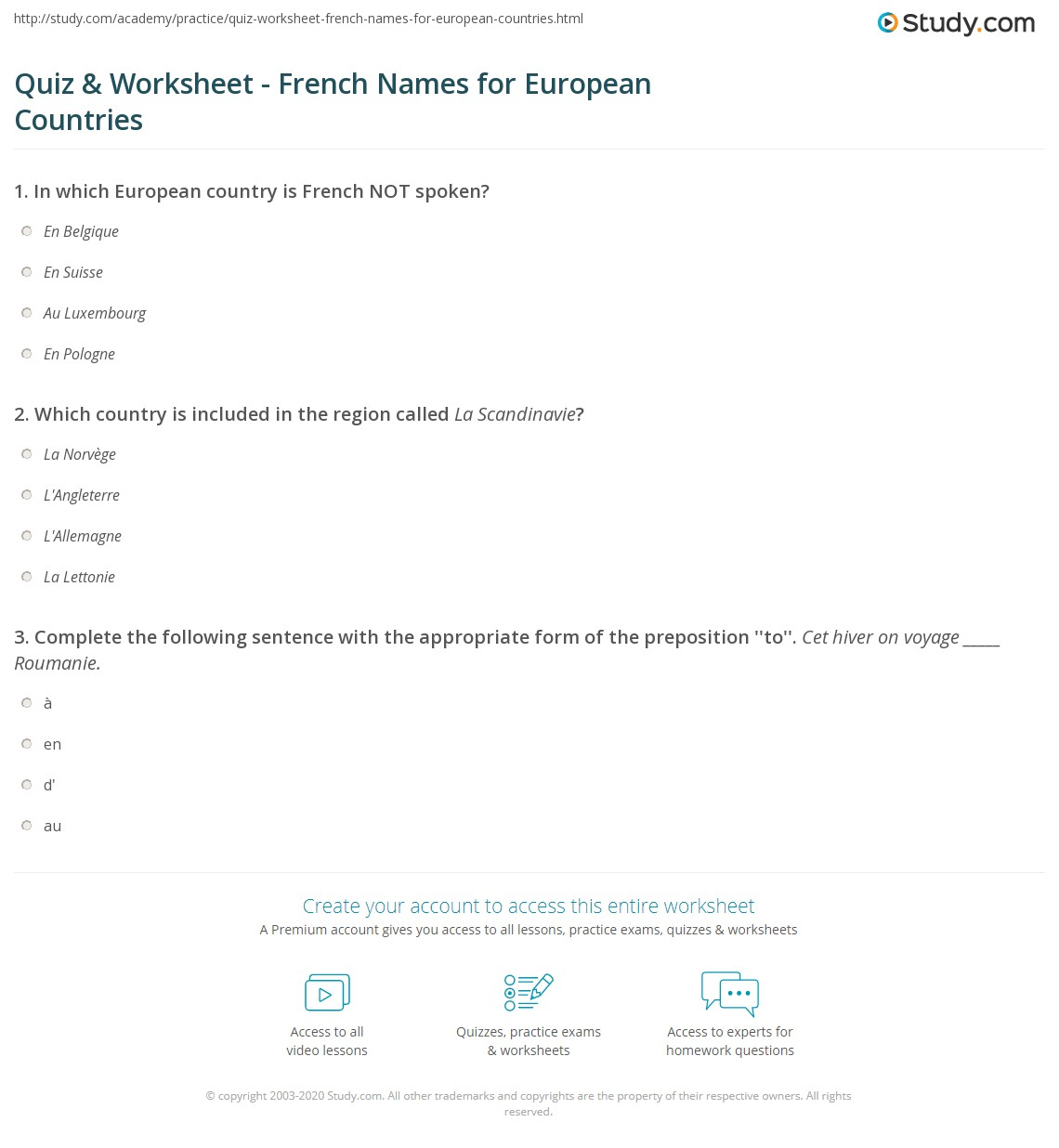 Superior Country Names In French Part - 13: Print European Countries In French Worksheet