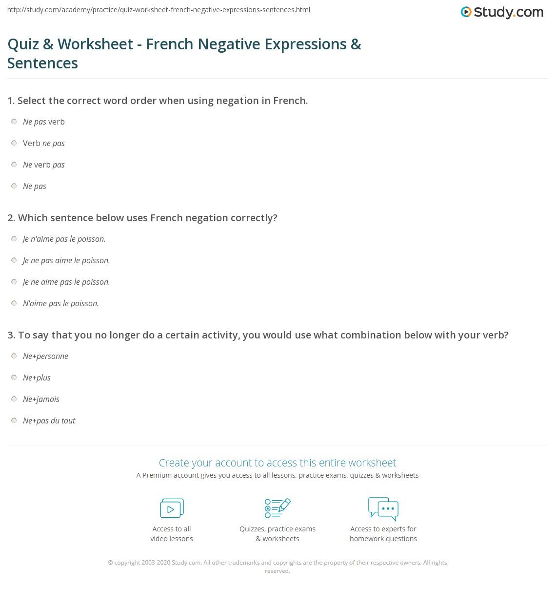 quiz worksheet french negative expressions sentences. Black Bedroom Furniture Sets. Home Design Ideas