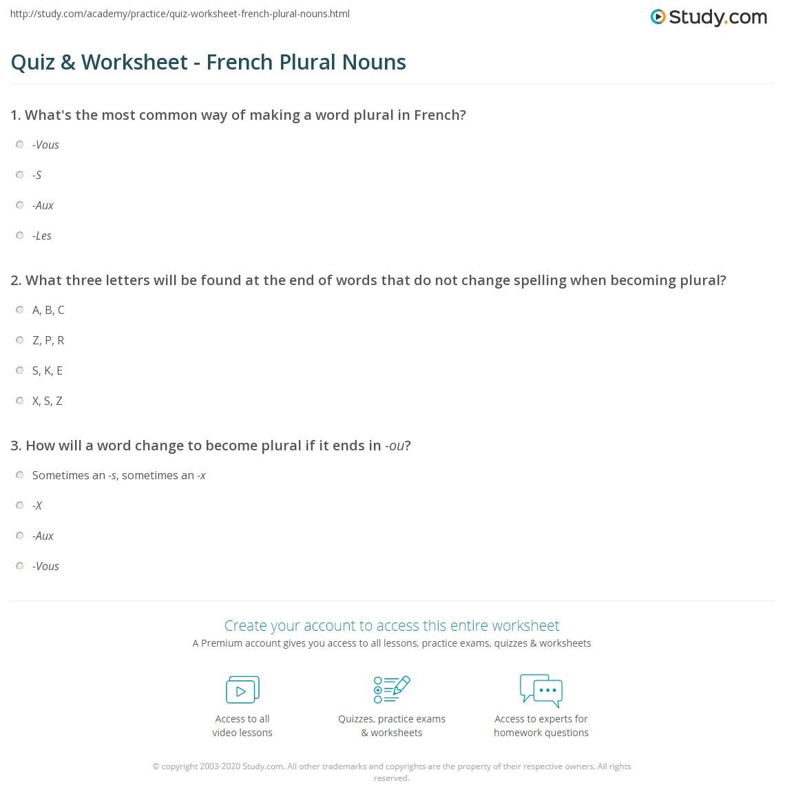 Quiz Worksheet French Plural Nouns Study