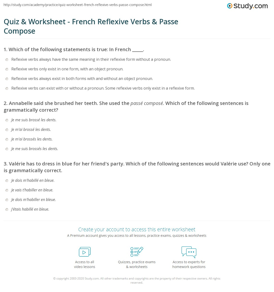 Quiz & Worksheet - French Reflexive Verbs & Passe Compose ...