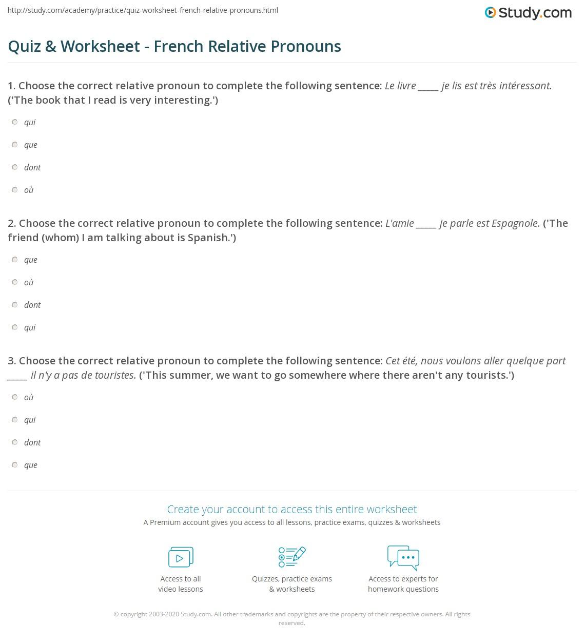 quiz worksheet french relative pronouns. Black Bedroom Furniture Sets. Home Design Ideas
