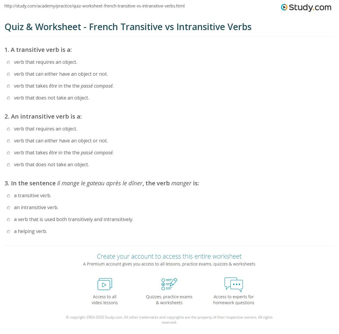 Workbooks transitive and intransitive verbs worksheets : Quiz & Worksheet - French Transitive vs Intransitive Verbs | Study.com