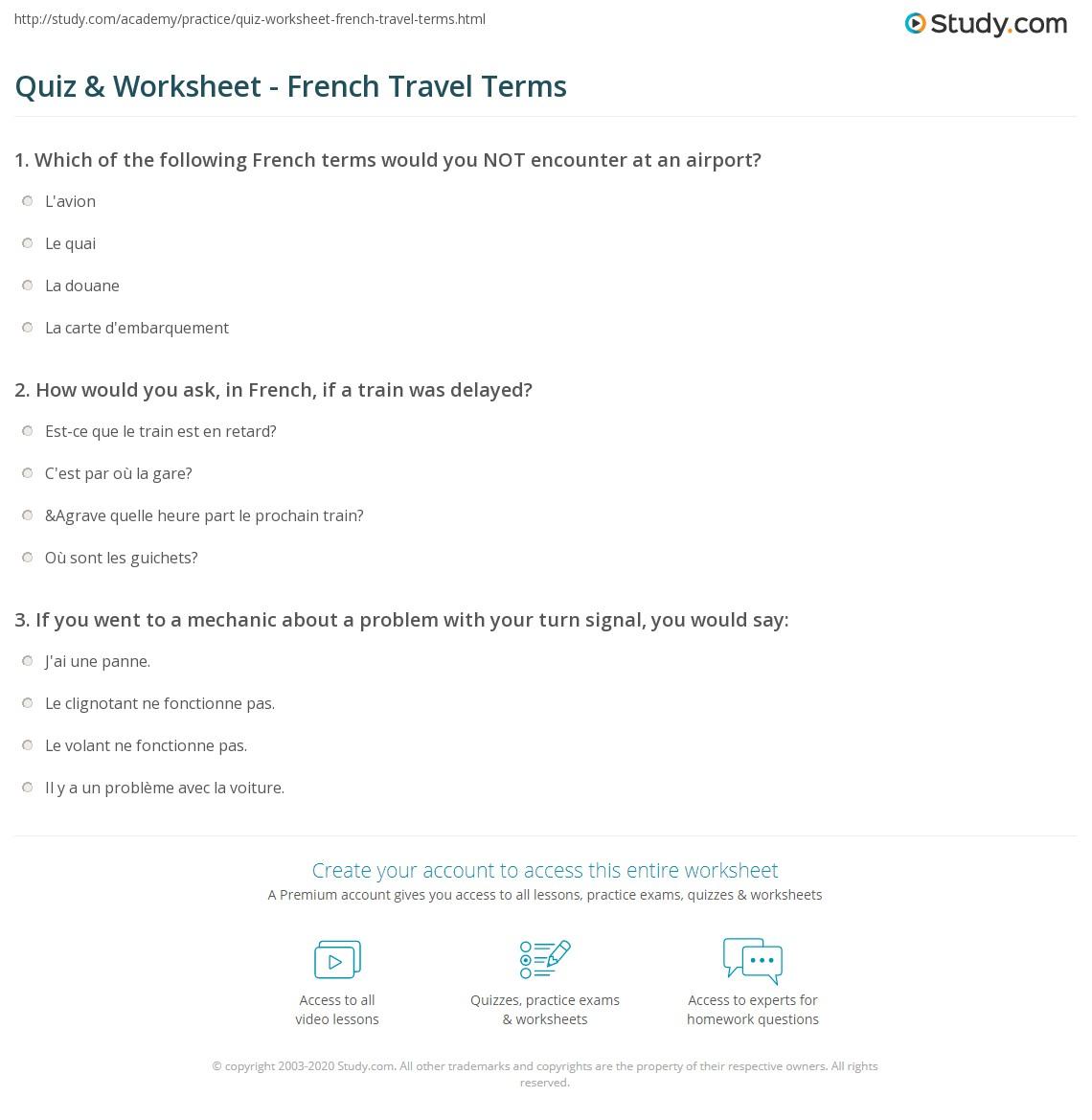 Print French Phrases for Travel Worksheet