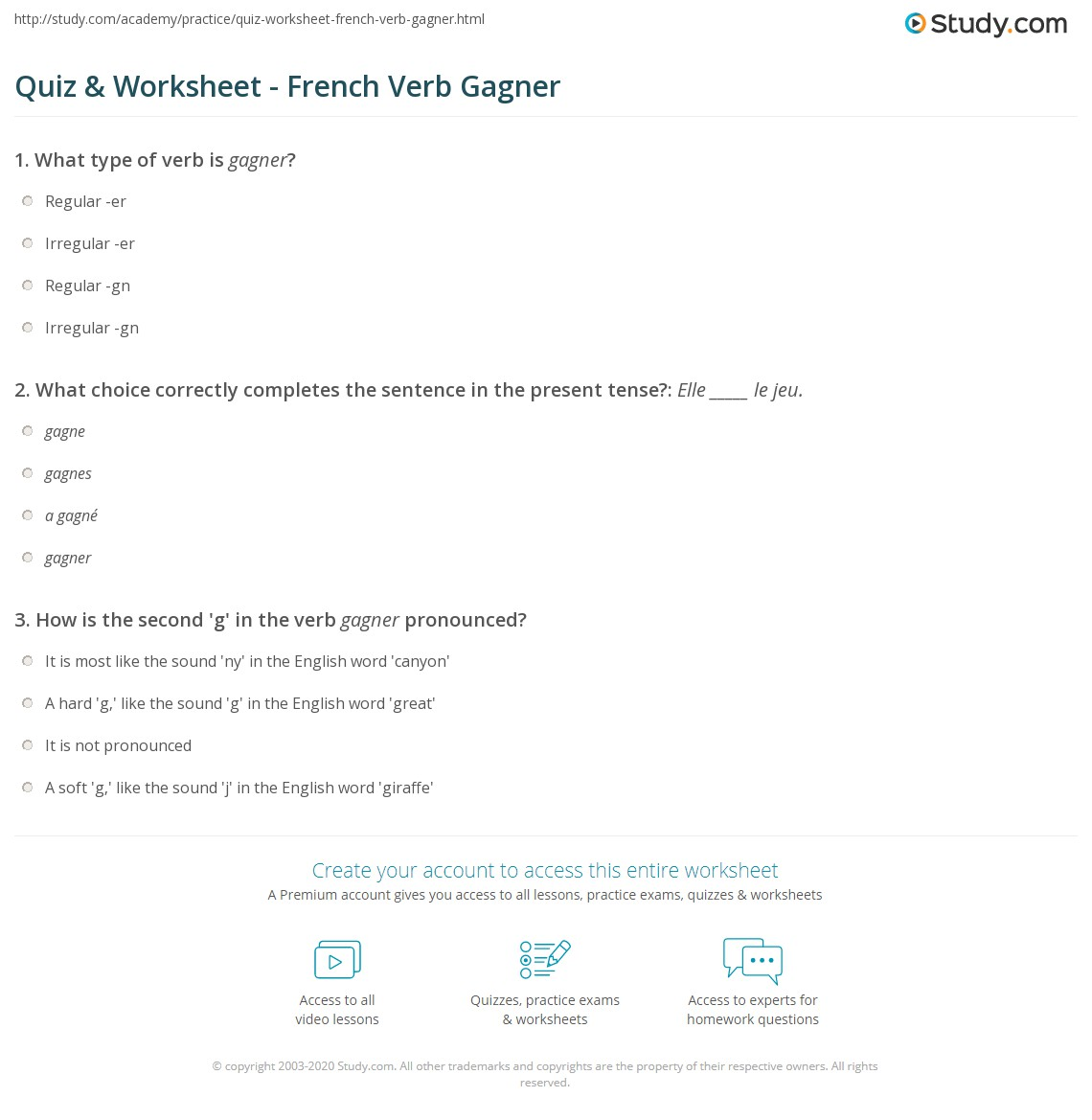 worksheet Soft G Sound Worksheets quiz worksheet french verb gagner study com print translation conjugation worksheet