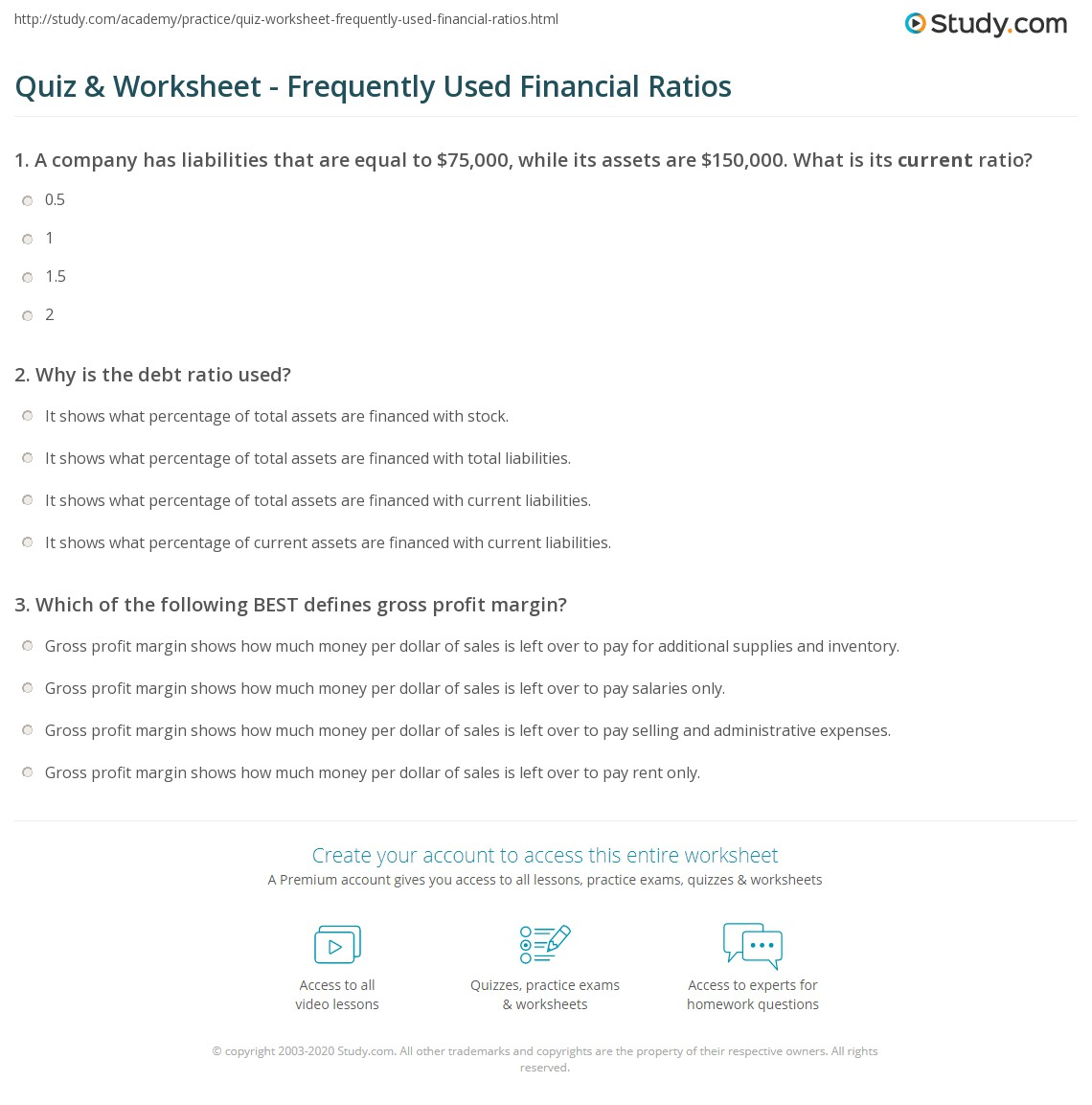 print commonly used financial ratios worksheet