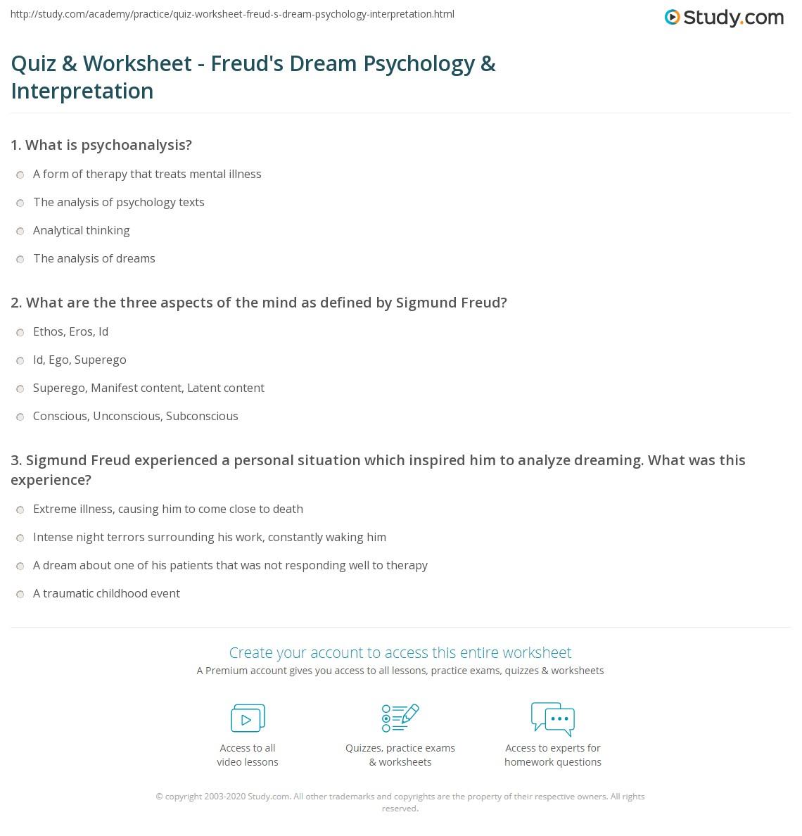 Quiz Worksheet Freuds Dream Psychology Interpretation – Ap Psychology Worksheets