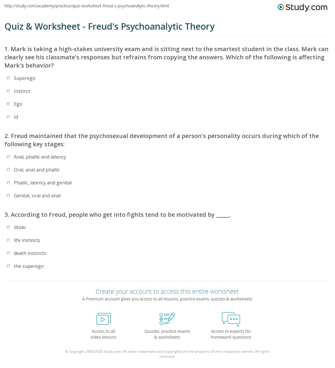 worksheet Theory Worksheets quiz worksheet freuds psychoanalytic theory study com print on instincts motivation personality development worksheet