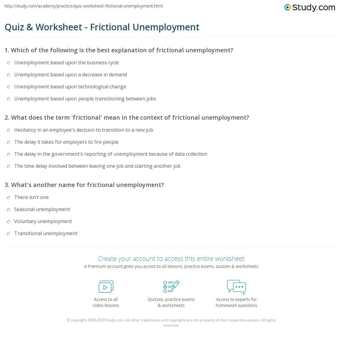 Quiz Worksheet Frictional Unemployment Study
