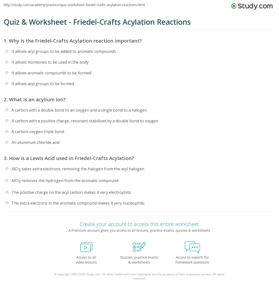 Quiz & Worksheet - Friedel-Crafts Acylation Reactions