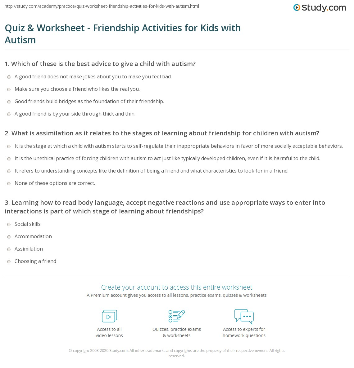 Worksheets Worksheets For Children With Autism quiz worksheet friendship activities for kids with autism print children worksheet