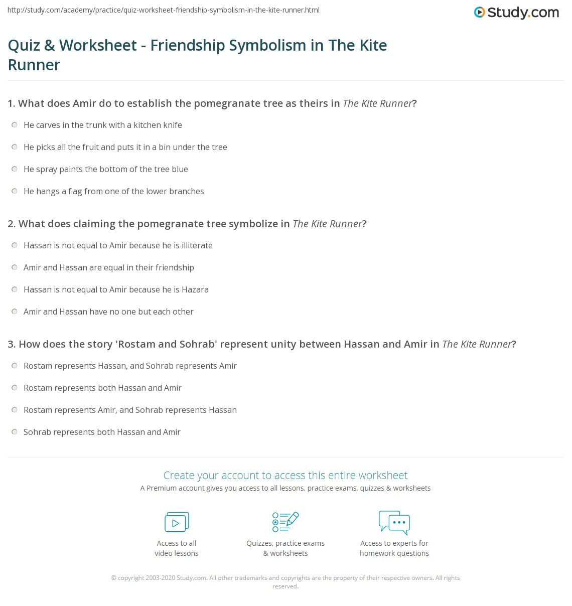 Quiz Worksheet Friendship Symbolism In The Kite Runner Study