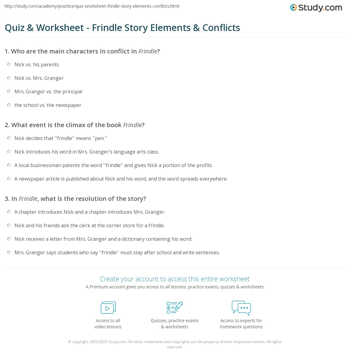 Quiz worksheet frindle story elements conflicts study what event is the climax of the book frindle fandeluxe Image collections