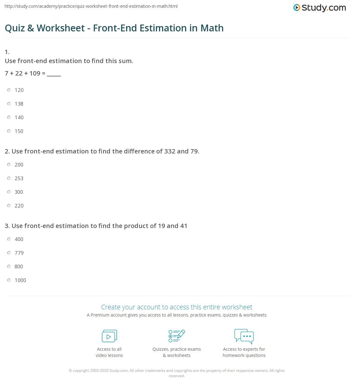 quiz worksheet front end estimation in math. Black Bedroom Furniture Sets. Home Design Ideas