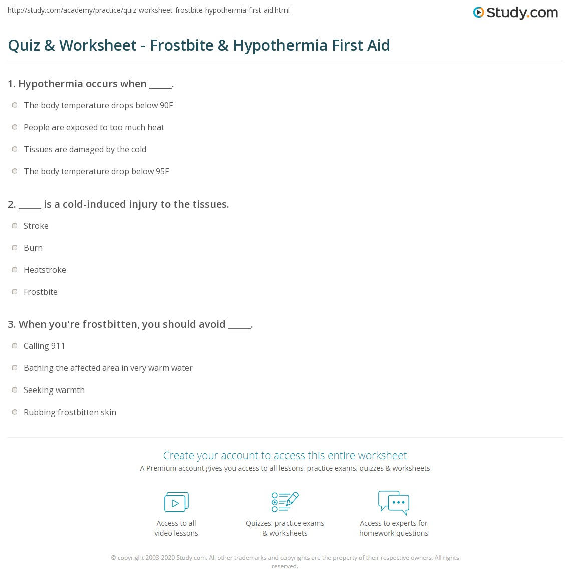 Quiz Amp Worksheet Frostbite Amp Hypothermia First Aid