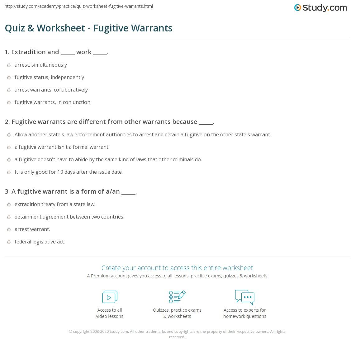 Quiz & Worksheet - Fugitive Warrants | Study com
