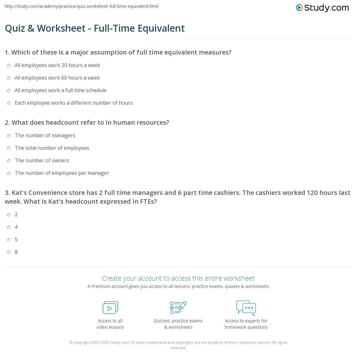 Worksheets Fte Calculation Worksheet quiz worksheet full time equivalent study com print definition uses example worksheet
