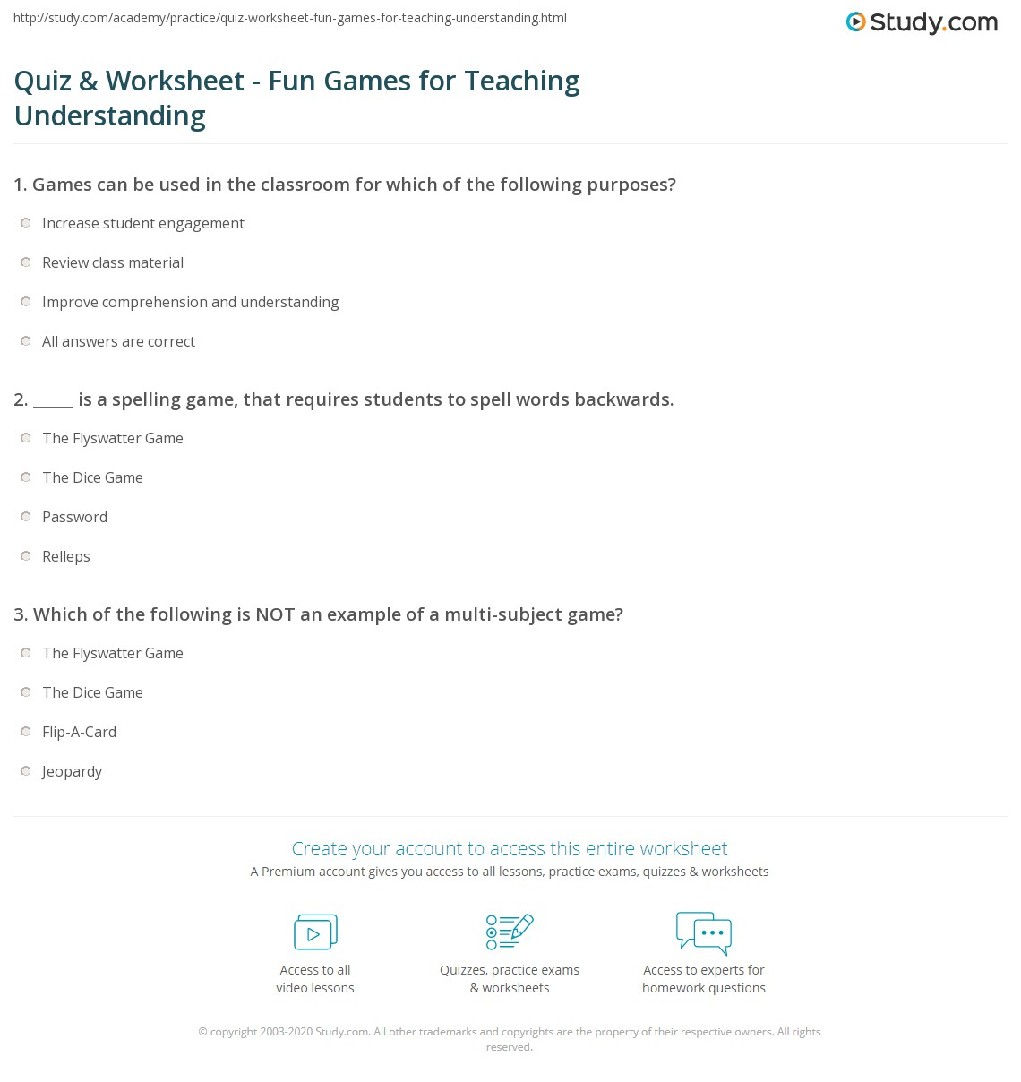 Quiz Worksheet Fun Games For Teaching Understanding Study