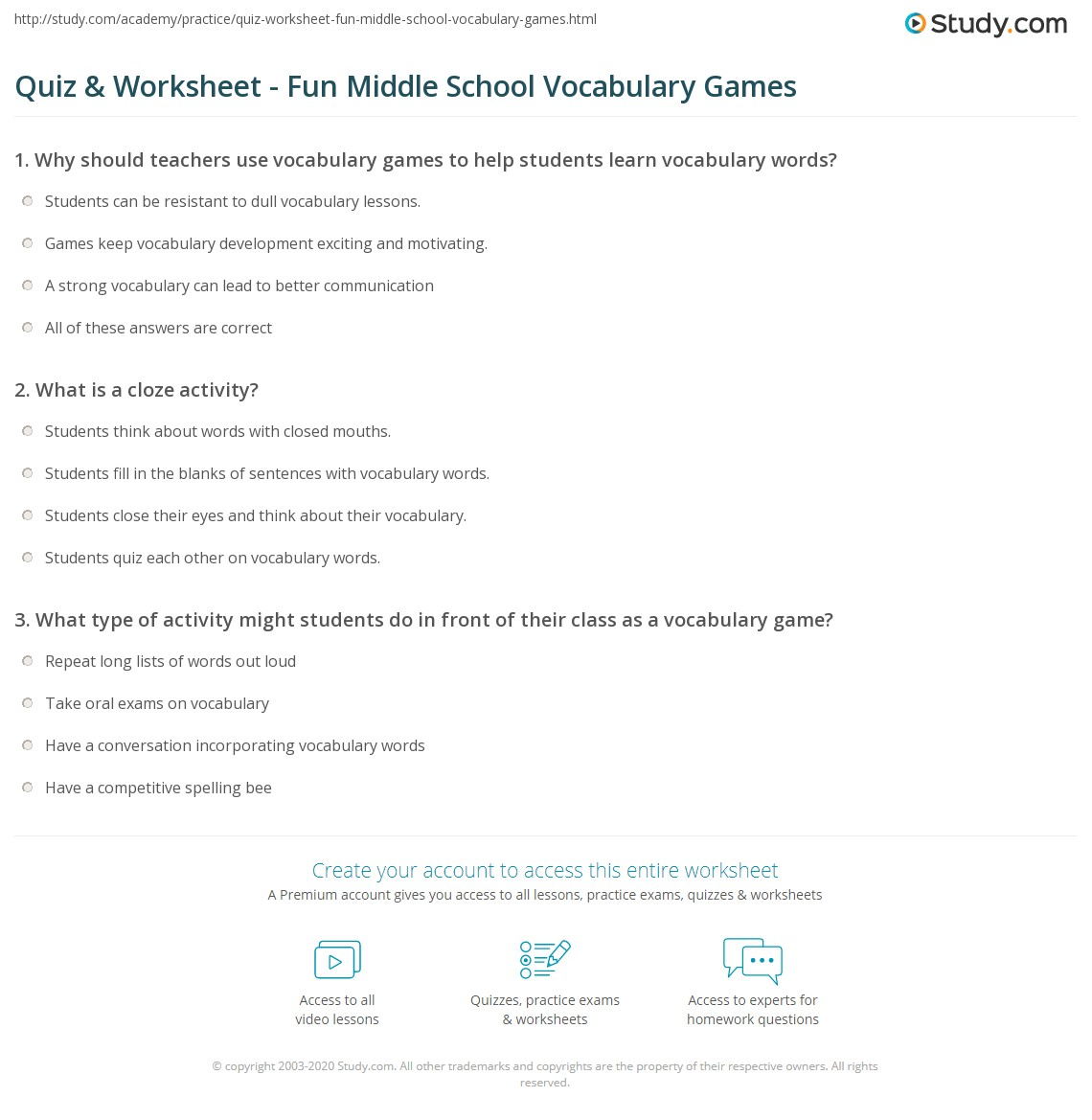 quiz worksheet fun middle school vocabulary games study com