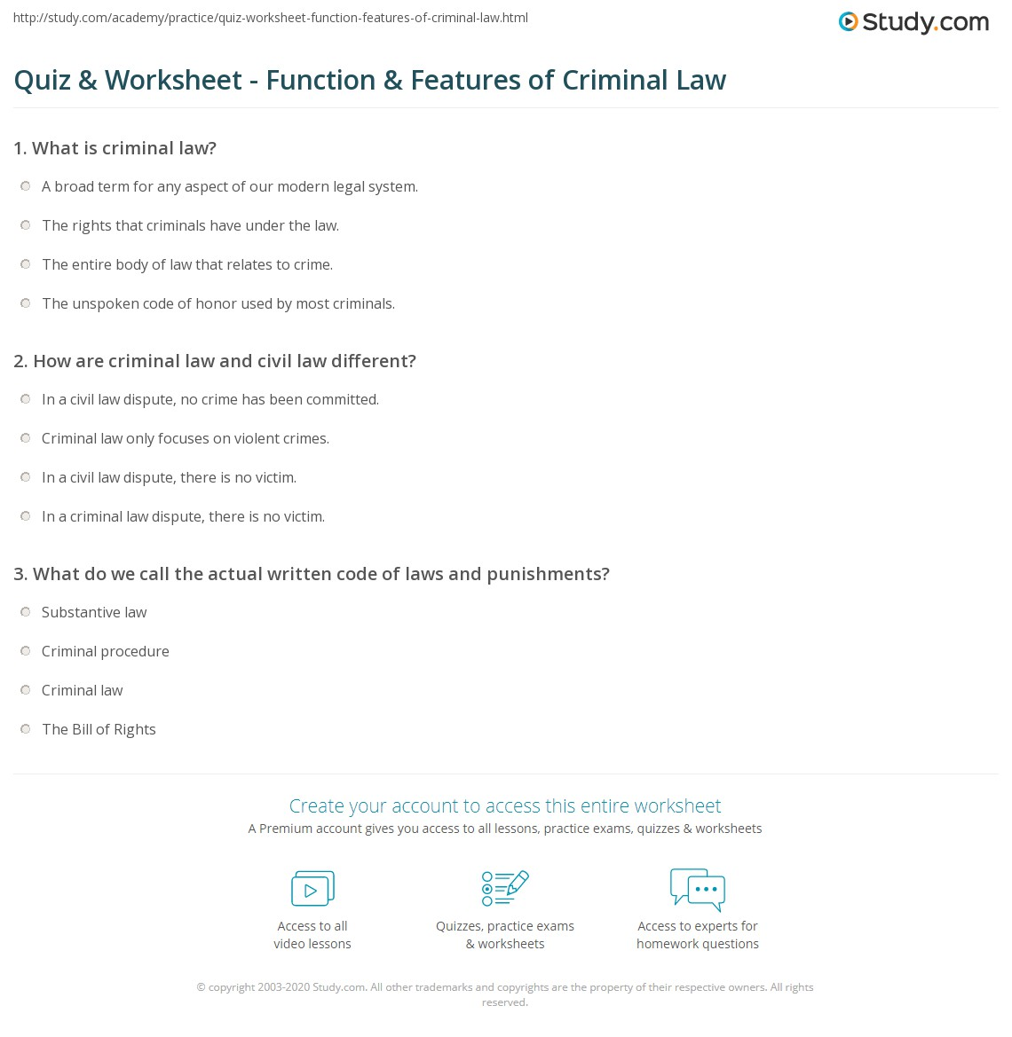Worksheets Criminal Law Worksheets quiz worksheet function features of criminal law study com print the nature and purpose worksheet