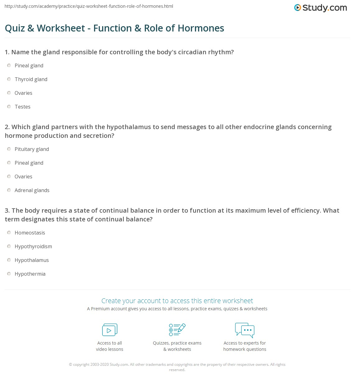 Quiz & Worksheet - Function & Role of Hormones | Study.com