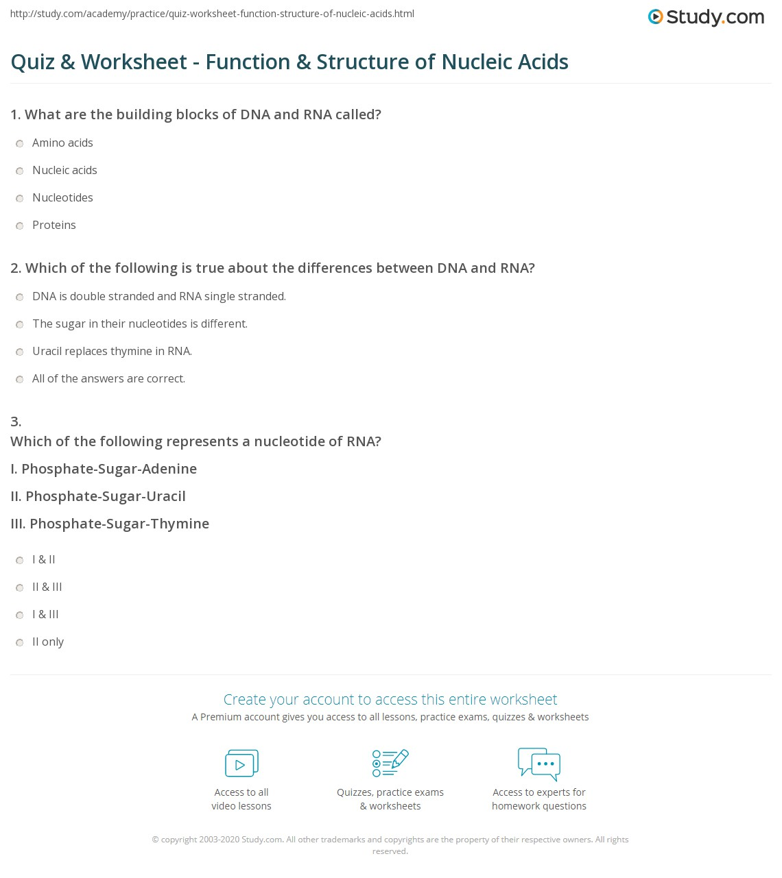 worksheet Dna The Double Helix Worksheet Answers quiz worksheet function structure of nucleic acids study com print worksheet