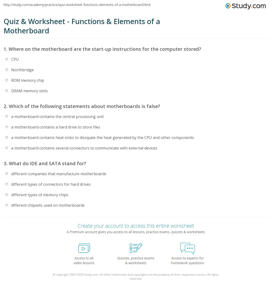 Quiz Worksheet Functions Elements Of A Motherboard Study