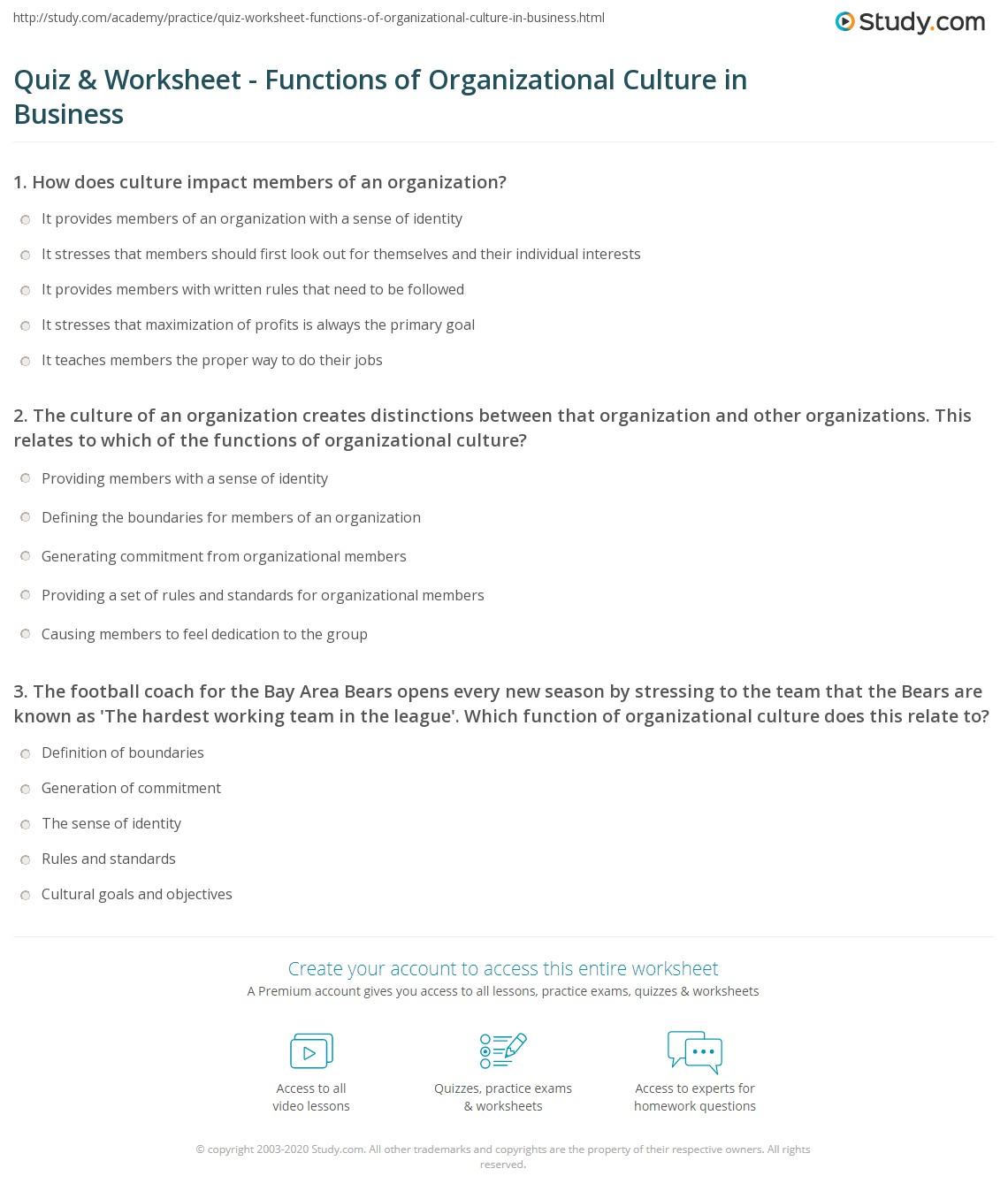quiz worksheet functions of organizational culture in business  print functions of organizational culture worksheet