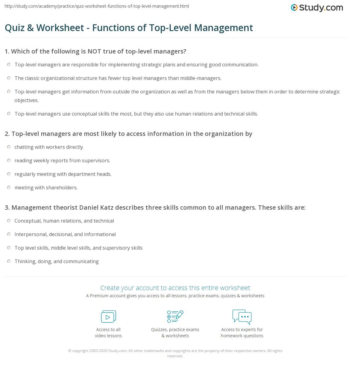 Quiz & Worksheet - Functions of Top-Level Management | Study com