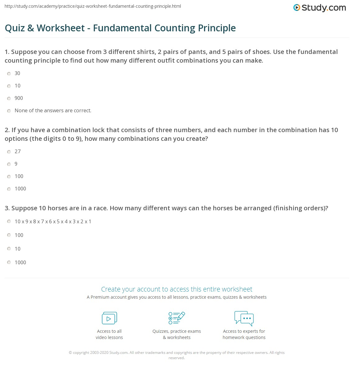 Quiz and Worksheet Fundamental Counting Principle – Additive Inverse Worksheets